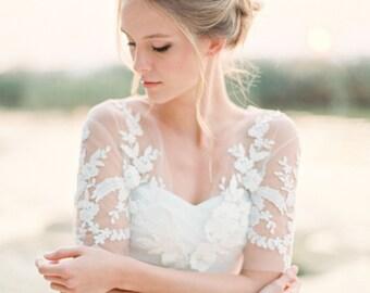 Lace applique tulle bridal bolero, ivory lace bolero, wedding shrug, shawl, cover up, wedding top, Style A02