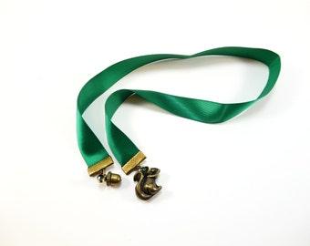 Squirrel Bookmark, Green Ribbon Bookmark, Personalized Reader Gift, Pretty Gift for Booklover, Book Club, Unique Teacher Gift