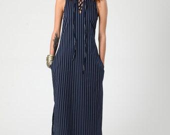 Women's Maxi Navi Blue Stripes Dress, Sexy Boho Maxi Dress, Summer Blue Dress, Sleeveless Dress with pockets, Woman's Bohemian Casual Dress