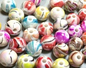 Clearance Beads, Acrylic watercolor beads, multicolor beads, pastel beads Approx 7-8 mm