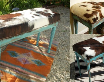 Made to Order**Cowgirl Chic Cowhide and Turquoise Piano Bench Seat