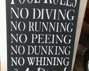 Pool Rules, pool decor, large stenciled wood sign