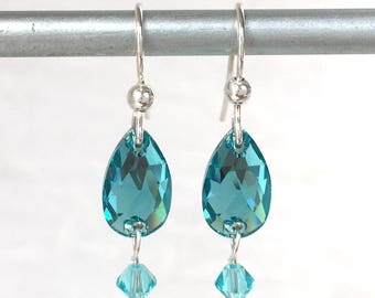 Turquoise Earrings - Blue Crystal Earring - Oval Crystal Drop - Turquoise Jewelry - Turquoise Wedding - Maid of Honor Gift - Bridesmaid