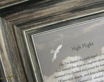 HIGH FLIGHT framed verse, framed quote, WWII pilot, John Gillespie Magee, love of flight, pilot gift, veteran gift, sympathy, grieving gift
