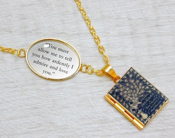 "Pride and Prejudice Book Locket Charm by Jane Austen Quote Jewelry Jewellery Literary Gifts Necklace ""How ardently I admire and love you"""