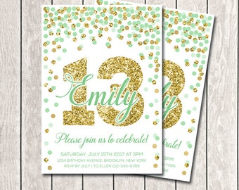 Any Age Green Mint Gold Confetti Birthday Invitation 13th Birthday Invitation Girl Birthday Invitation Printable Mint And Gold Confetti