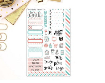 Coral Mint Weekly Planner Kit