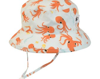 Child's Sun Protection Camp Hat - Organic Cotton Print in Octopus (6 month, xxs, xs, s, m, l)