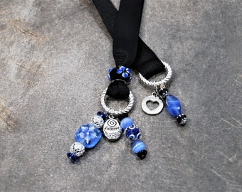 """Blue Painted floral Beaded Bookmark with """"Follow your heart tag"""""""