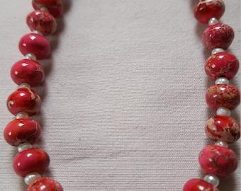 Magenta-Red Sea sediment Jasper with freshwater pearls