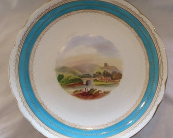 French 19th C Porcelain Hand Painted Footed Plate