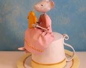 Sculpture en papier mâché, cadeau pour elle, petite souris, boîte à trésors, décoration poétique, papier mâché, décoration d'intérieur, OOAK
