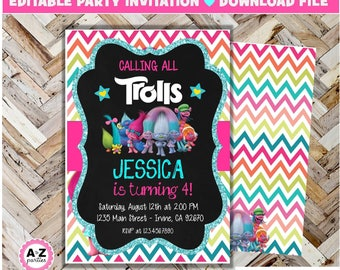 Trolls birthday invitation, Editable, Trolls, Edit with Adobe, Glitter, formatted for 5x7. 2 per page, Instant download, DIY, Print Today
