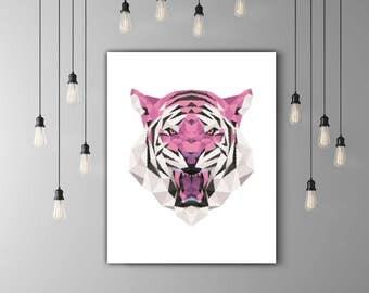 Tiger Print, Safari Decor, Geometric Animal Art Print, Tiger Head, Safari Print, Animal Illustration, Geometric Design, Tiger Wall Art