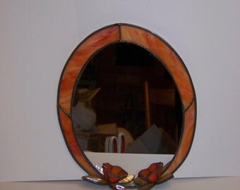 Vintage Art Deco Amber Stained Glass Mirror