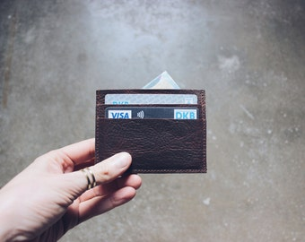 minimal leather credit card case, business card case, leather wallet, card holder