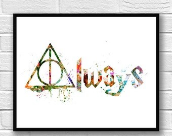 Harry Potter Watercolor Print, Harry Potter Always, Wall Art, Silhouette, Colorful Poster, Movie Poster, Home & Living, Home Decor - 274