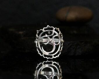 Silver Om ring, Ohm ring, sterling silver, Om jewelry, Ohm symbol, Yoga gifts, Yoga jewelry, Yoga ring, Buddhist jewelry, meditation ring Om