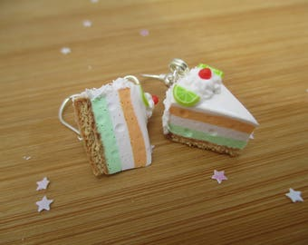 Tropical Mousse Cake Earrings, Handmade Polymer Clay Kawaii