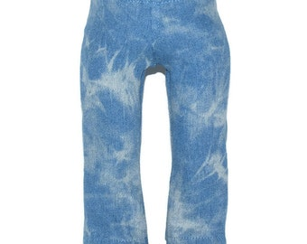 """Tie Dyed Denim Jeans/Pants - Light Blue -Doll Clothes fits 18"""" American Girl Dolls"""