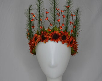 autumn and pine large flower crown head piece