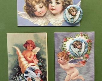 Victorian Cherubs Angels Roses Note Card