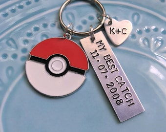 Pokemon Keychain, Pokeball My Best Catch, Gift for couples, boyfriend girlfriend husband wife spouse, Anniversary, Silver, Personalized