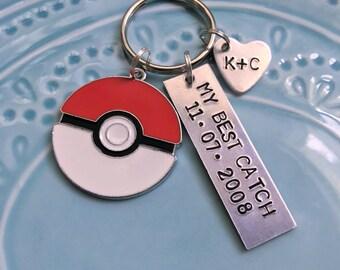 Pokemon Keychain, Pokeball My Best Catch, Gift for couples, boyfriend girlfriend husband wife spouse, Anniversary, Silver, Personalized