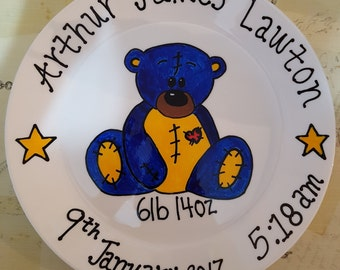 Ceramic Baby Birth plate/ Hand drawn plate