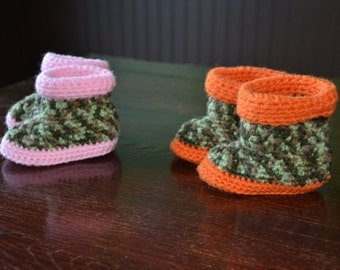 Slipper baby boot for baby, slipper for baby, Crochet for baby, Camouflage baby.