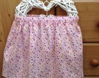 Handmade retro style pink ditzy flowers cotton girl's skirt, 3-4 years