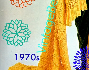 INSTANT DOWNlOAD - PdF Pattern - Afghan KNITTING Pattern Vintage 1970s Allegro Knitting Pattern Fringe