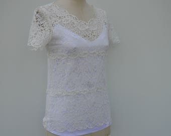 Clearance 30% Top lace wedding, off white top, ecru lace cover-up