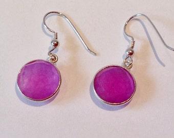 Purple chalcedony earrings on sterling silver wire