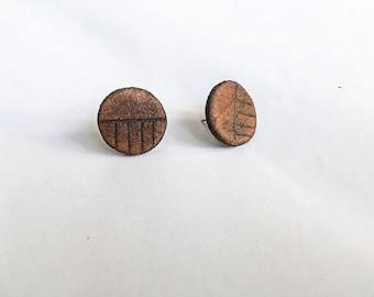Women's minimalist genuine leather earrings - small - stud - brown - circle - handmade jewelry - accessories
