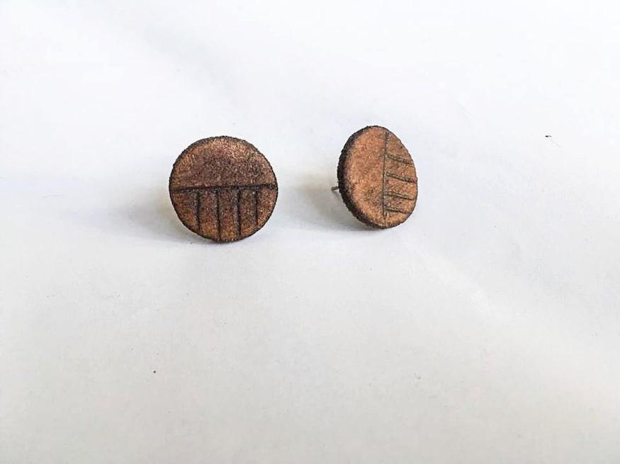 Genuine leather stud earrings