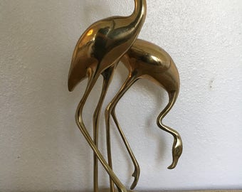 "Mid Century Brass Flamingos 15"" Tall Figurine Statue"