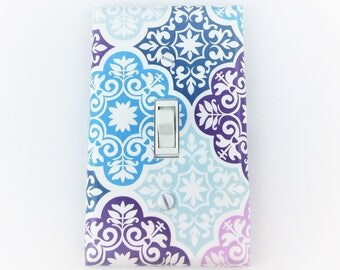 Light switch cover - purple, teal, lavender, aqua, blue - Nursery decor - Girls bedroom decor - Teen room decor - Purple nursery - Modern