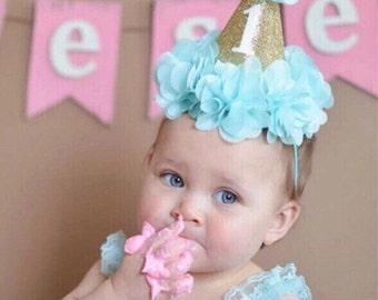 First Birthday, Party Hat, First Birthday Hat, Birthday Photo Prop, First Birthday Crown, Baby Girl First Birthday Party Hat