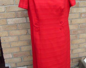 1960's Vintage Ladies Red Day Dress