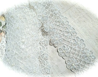 White Sequined Trim Pearl Costume Trim Sewing Supplies T-132