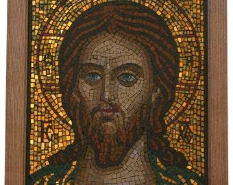 JJesus Christ Pantocrator Orthodox mosaic icon Byzantine art Baptism gift Religious gift Christian gift Orthodox art Religious wall art