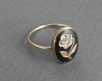 14K Georgian Enamel and Rose Diamond ring size 5.5