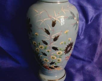 Victorian Handpainted and Etched Blue Milk Glass Vase