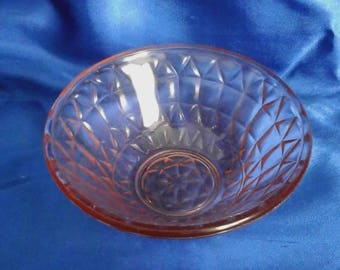 Vintage Pink Glass Bowl/Dish, Molded Pattern