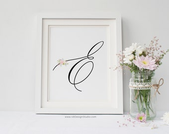Letter E Wall Art, Cadre, Nursery Decor, Nursery Monogram Print, Nursery Wall Art, Monogram Printable, Initial Print, Christmas Gift, DT213