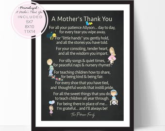 Chalkboard Print, Teacher Appreciation Gift, A Mother's Thank You Poem, Daycare Provider Gift, Babysitter Gift, Camp Counselor, D63-16P