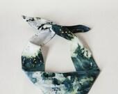 Cotton bandana, headband, headscarf, hairtie, hairband, hand dyed, hand painted