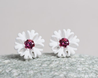 spring earrings, white flower studs with stones, botanical jewelry, statement studs as gift for women