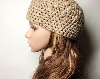 Camel PAT Crocheted Hat - Hand Made Crocheted Hat - Beige Beanie - Woman Hat - Ready To Ship